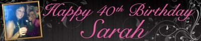 Banner Centre | Floral Adult Wall Banner with photo PINK