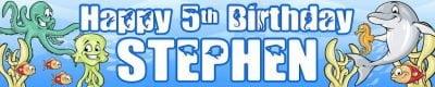 Sealife Birthday Banner