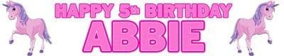 Pink Unicorn Birthday Banner